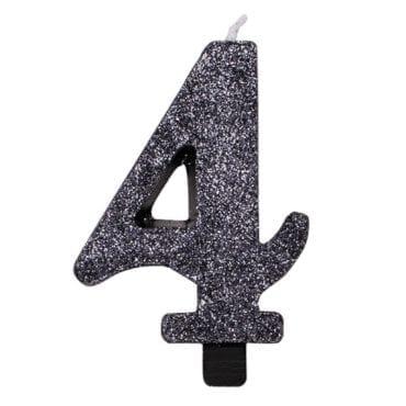 Vela Aniversário 9,5cm Preto Glitter nº4