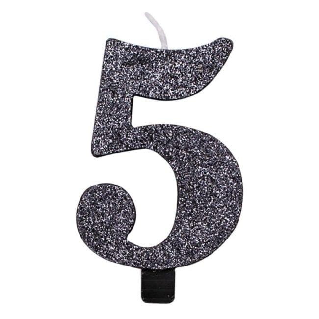 Vela Aniversário 9,5cm Preto Glitter nº5