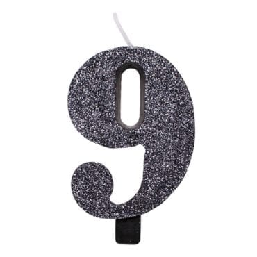 Vela Aniversário 9,5cm Preto Glitter nº9