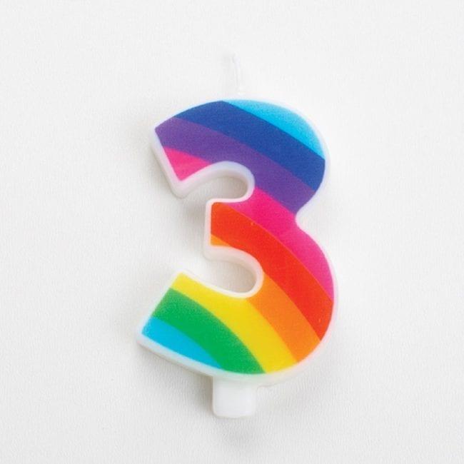 Vela Aniversário 9,5cm Sparkling Arco-Íris nº3