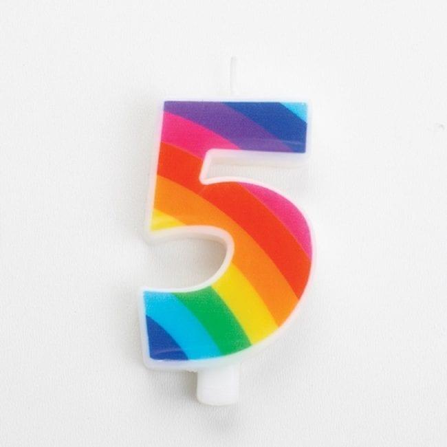 Vela Aniversário 9,5cm Sparkling Arco-Íris nº5