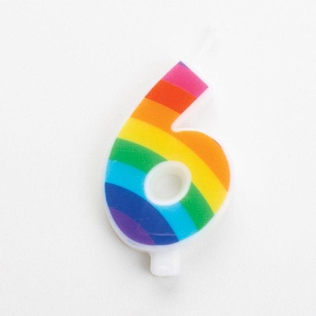 Vela Aniversário 9,5cm Sparkling Arco-Íris nº6