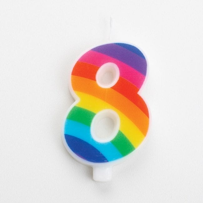 Vela Aniversário 9,5cm Sparkling Arco-Íris nº8