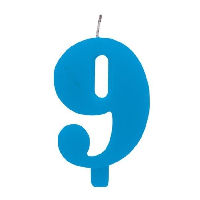 Vela Aniversário 9,5cm Sparkling Azul nº9