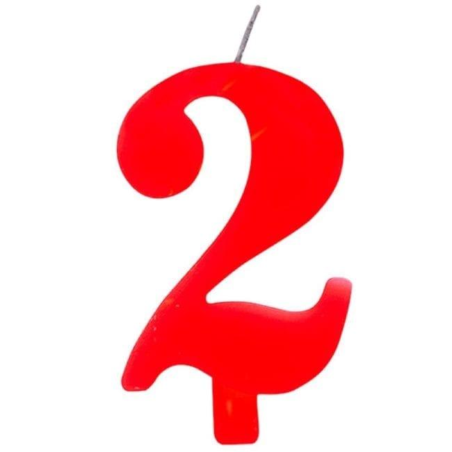 Vela Aniversário 9,5cm Sparkling Vermelho nº2
