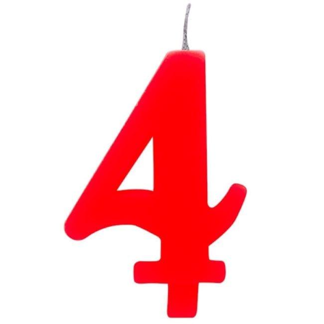 Vela Aniversário 9,5cm Sparkling Vermelho nº4
