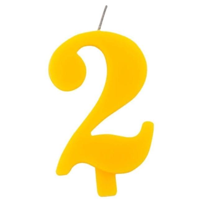 Vela Aniversário 9,5cm Sparkling Amarelo nº2