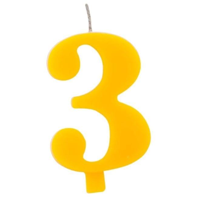 Vela Aniversário 9,5cm Sparkling Amarelo nº3