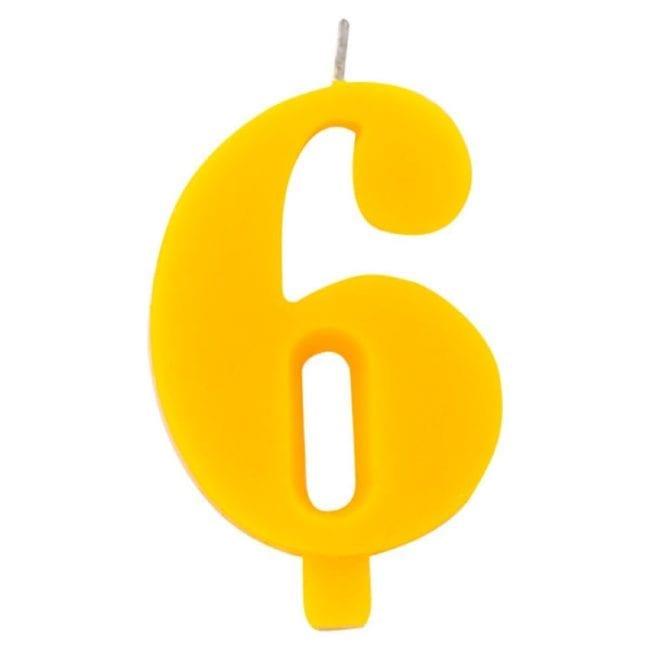 Vela Aniversário 9,5cm Sparkling Amarelo nº6