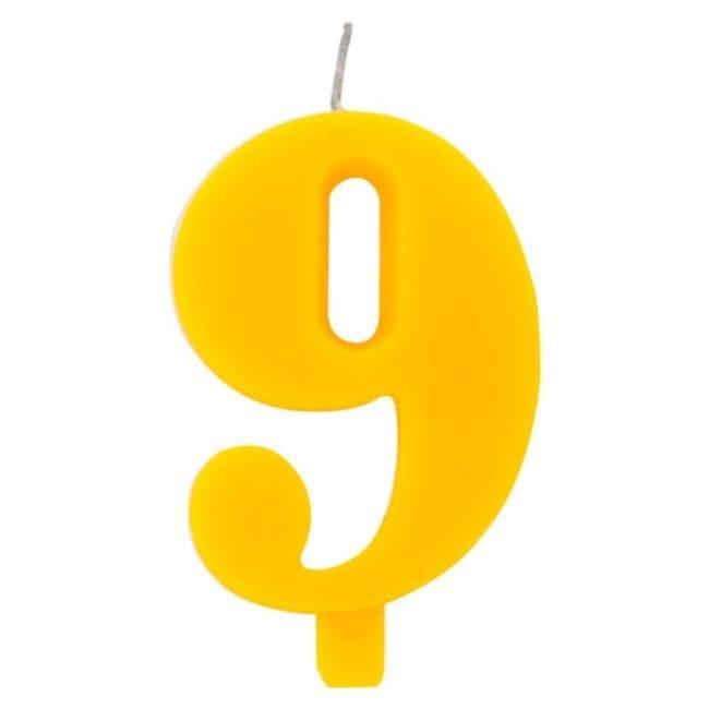 Vela Aniversário 9,5cm Sparkling Amarelo nº9