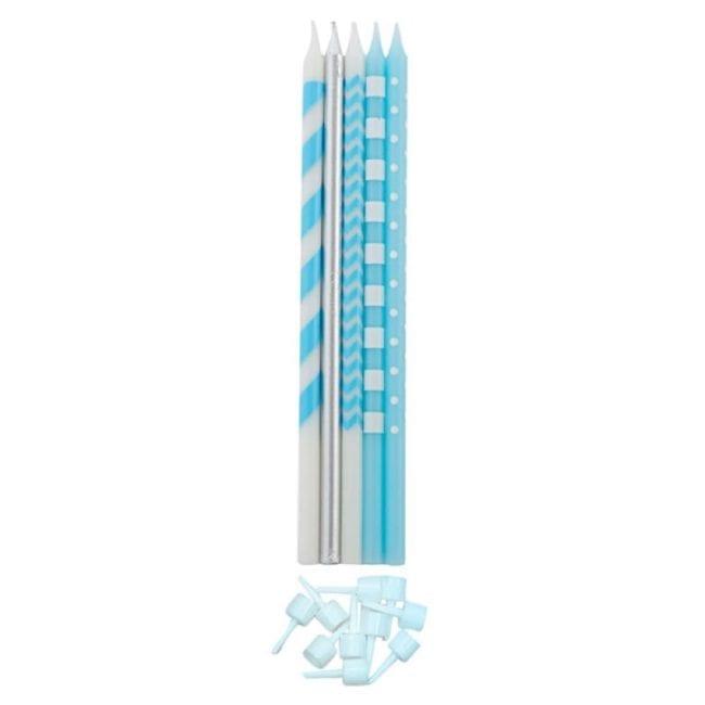 Velas de Aniversário 15,5cm Azul Claro & Prateado