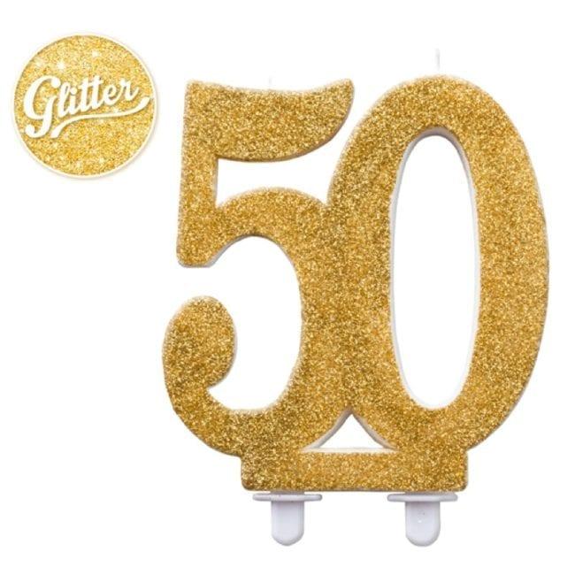 Vela Aniversário 12cm Glitter Dourado nº50
