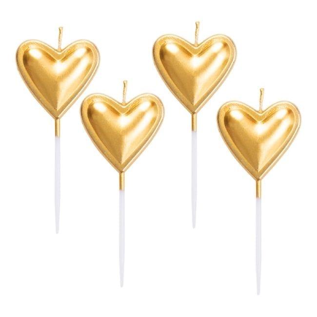 Velas de Aniversário Corações Dourado