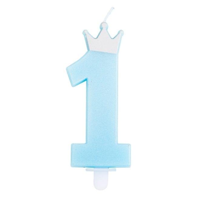 Vela Aniversário 9,5cm nº1 Azul com Coroa Prateado