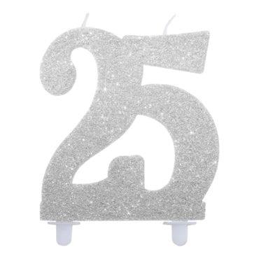 Vela Aniversário 12cm Glitter Prateado nº25