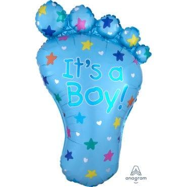 Balão Foil SuperShape Pé de Bebé Azul