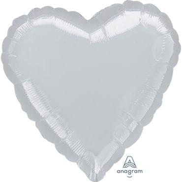 Balão Foil SuperShape 81cm Coração Prateado