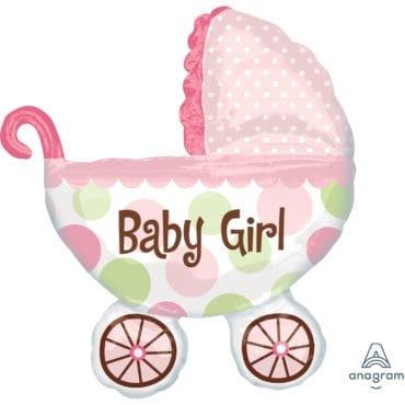 Balão Foil SuperShape Carrinho de Bebé Menina