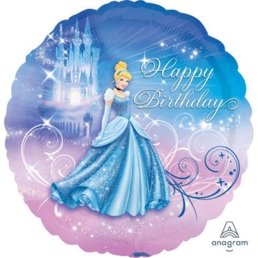 Balão Foil  Princesas Disney - Happy Birthday Cinderela