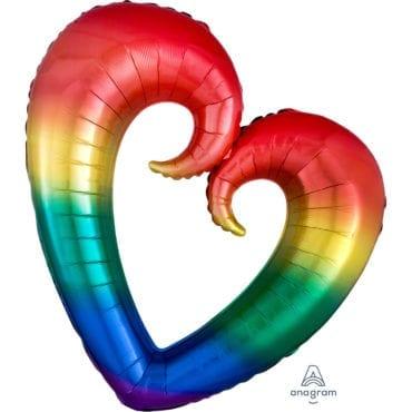Balão Foil SuperShape Coração aberto Arco-íris