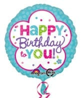 Balão Foil  Happy Birthday Pink & Teal