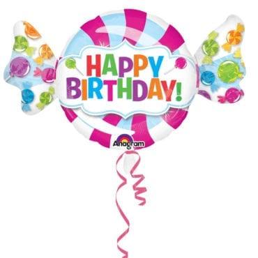 Balão Foil SuperShape Happy Birthday Rebuçado