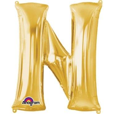 Balão Foil 86cm Dourado Letra N
