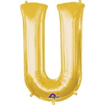 Balão Foil 86cm Dourado Letra U