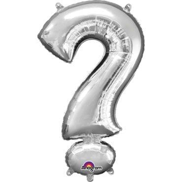 """Balão Foil SuperShape Símbolo """"?"""" Prateado"""