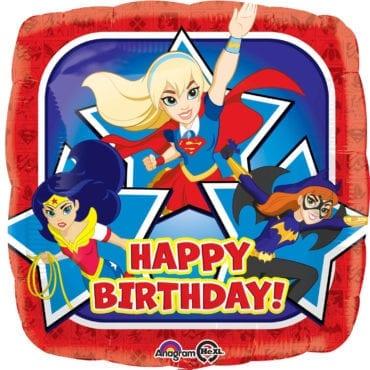 Balão Foil  Happy Birthday DC Super Hero Girls