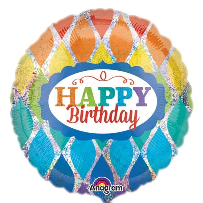 Balão Foil Standard Happy Birthday Arco-Íris Holográfico