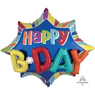 Balão Foil SuperShape Estrela Happy Birthday 3D