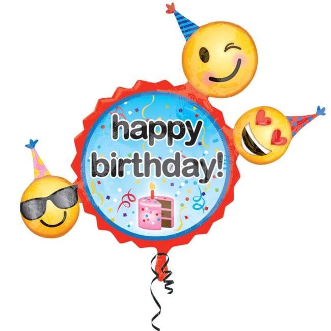 Balão Foil SuperShape Happy Birthday Emoji