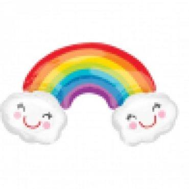 Balão Foil SuperShape Arco-íris com Nuvem