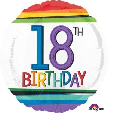 Balão Foil  Arco-íris 18th Birthday