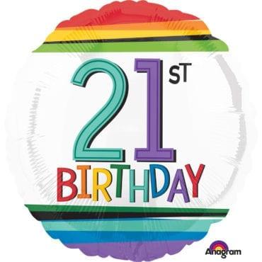 Balão Foil  Arco-íris 21th Birthday
