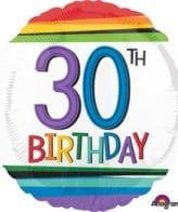 Balão Foil  Arco-íris 30th Birthday