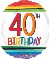 Balão Foil  Arco-íris 40th Birthday