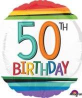Balão Foil  Arco-íris 50th Birthday