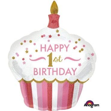 Balão Foil  SuperShape 1st Birthday Cupcake Girl