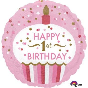 Balão Foil  Standard 1st Birthday Holográfico Cupcake Girl