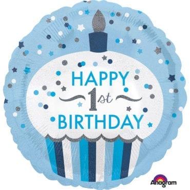 Balão Foil  Standard 1st Birthday Holográfico Cupcake Boy