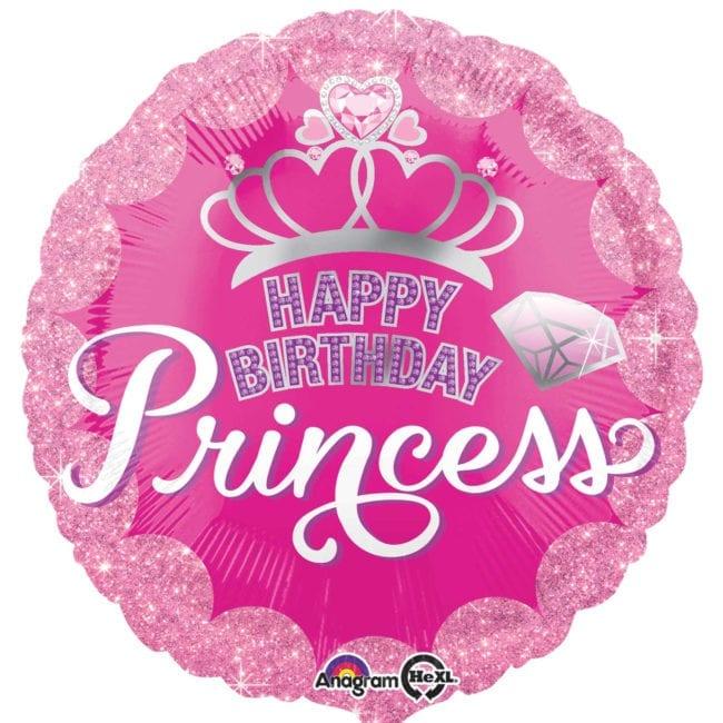Balão Foil  Standard Happy Birthday Coroa Princesas