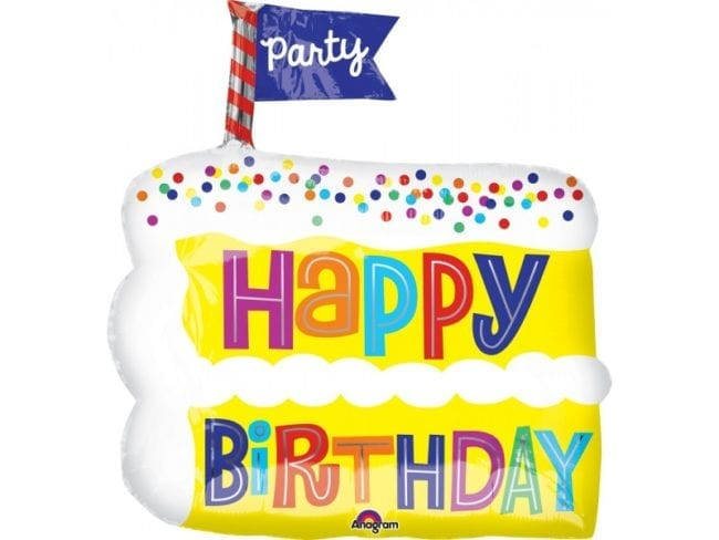 Balão Foil Junior Shape Happy Birthday Fatia de Bolo
