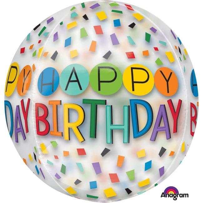 Balão Foil Orbz Clear Happy Birthday Arco-Íris