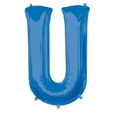 Balão Foil 86cm Azul Letra U
