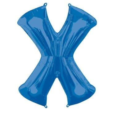Balão Foil 86cm Azul Letra X