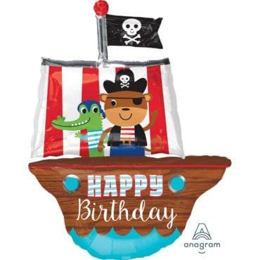 Balão Foil SuperShape Happy Birthday Barco de Pirata
