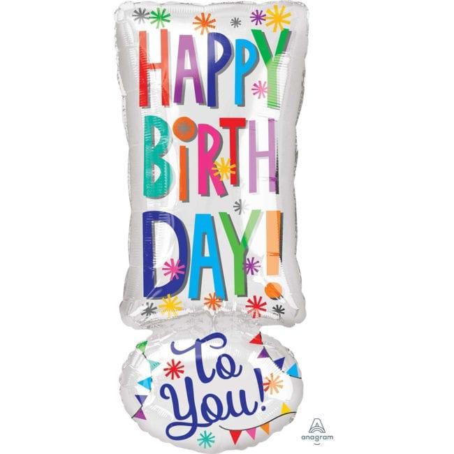 """Balão Foil Junior Shape Happy Birthday Ponto de Excalmação """"!"""""""