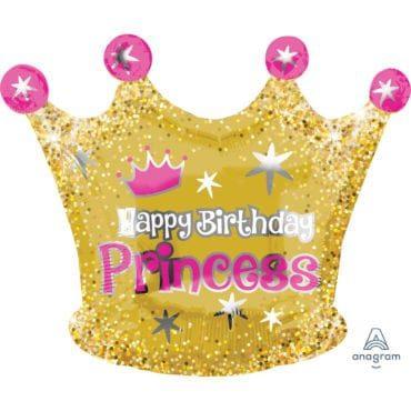 Balão Foil Junior Shape XL Happy Birthday Princesas Coroa Dourada